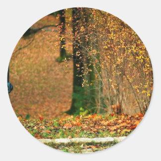 Nature Autumn Into The Woods Round Sticker