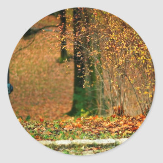 Nature Autumn Into The Woods Round Stickers
