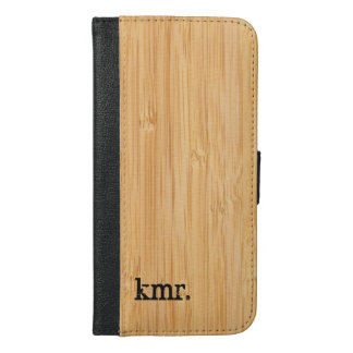 Nature Bamboo Texture Look with Stylish Monogram iPhone 6/6s Plus Wallet Case
