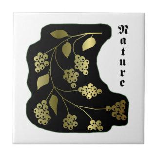 Nature black gold small square tile