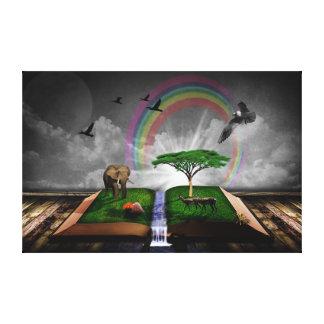 Nature book fantasy artistic illustration stretched canvas prints