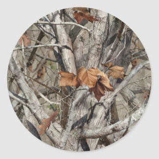Nature Camouflage Leaves and Branches pattern Round Sticker