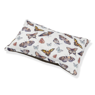 Nature Decor Watercolor Butterfly Small Pattern Pet Bed