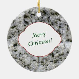 Nature Decorative White Granite Rock with Text Ceramic Ornament