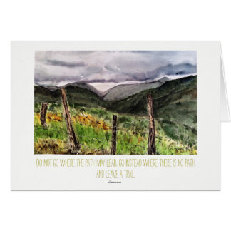 Nature Emerson Quote Landscape Watercolor Art Card
