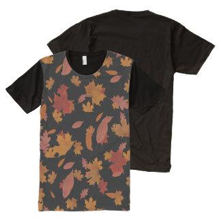 Nature Falling Autumn Leaves on Custom Black All-Over Print T-Shirt