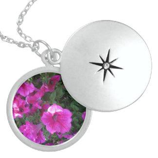 Nature, Flora, Pink Flower Round Locket Necklace