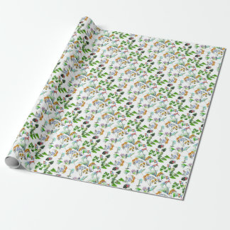 Nature flowers birds paradise wrapping paper