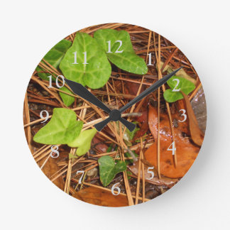 Nature Forest Floor English Ivy Rainy Leaves Clock