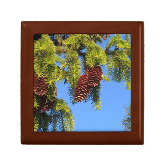 Nature forest photo box with branches small square gift box