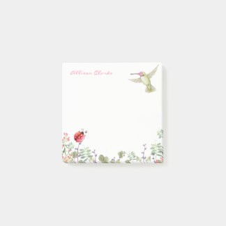 Nature Girl Hummingbird Ladybug Garden Monogrammed Post-it Notes