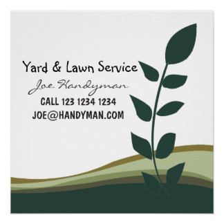 Nature Green Branch Yard Work Landscaping Business Poster