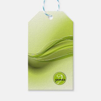Nature Green Modern Waves Monogram Gift Tags