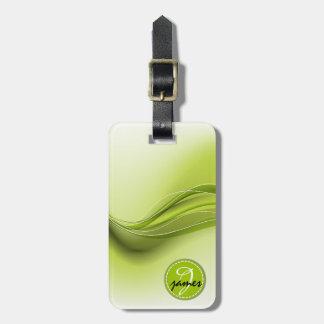 Nature Green Modern Waves Monogram Luggage Tag