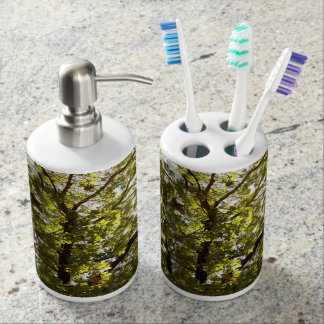 Nature Green Tree Soap Dispenser And Toothbrush Holder