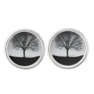 Nature in black and white cuff links
