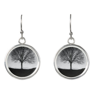 Nature in black and white earrings