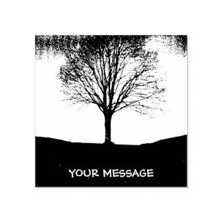 Nature in black and white rubber stamp