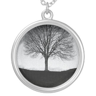 Nature in black and white silver plated necklace