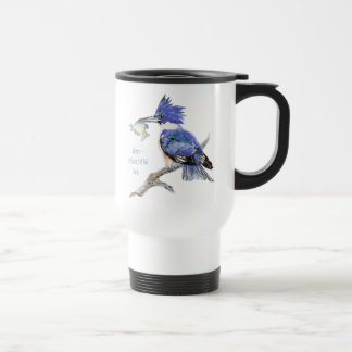 Nature is the art of God, Quote - Kingfisher, Bird Travel Mug