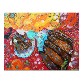 Nature Lady and the Seasons of the Year. 11 Cm X 14 Cm Invitation Card
