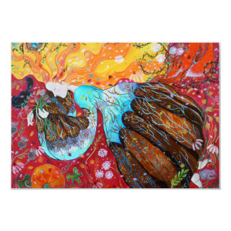 Nature Lady and the Seasons of the Year. 9 Cm X 13 Cm Invitation Card
