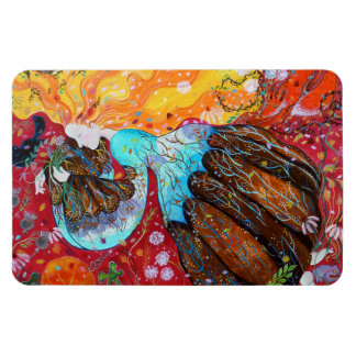 Nature Lady and the Seasons of the Year. Rectangular Magnet