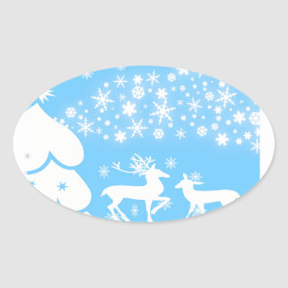Nature  Landscapes  Seasons Winter Snowflake Deer Oval Sticker