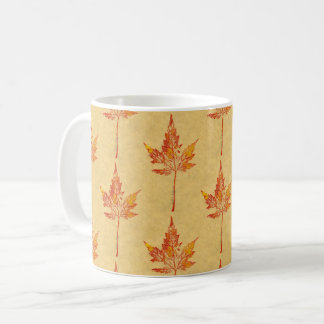 Nature Leaf Print autumn maple leaf in red on tan. Coffee Mug