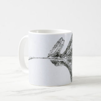 Nature Leaf Print autumn white oak leaves in black Coffee Mug