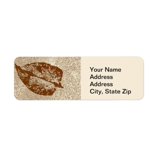 Nature Leaf Print, brown on tan leaf. Return Address Label