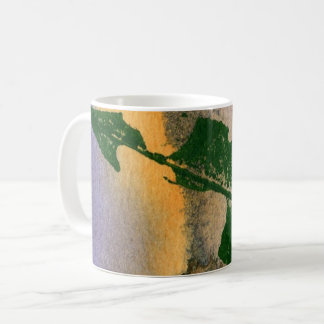 Nature Leaf Print chewed cherry leaf in green tan Coffee Mug