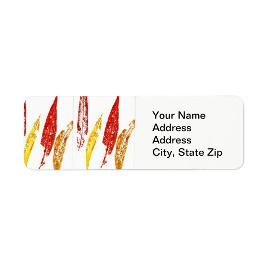 Nature Leaf Print, coloured willow leaves. Return Address Label