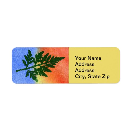 Nature Leaf Print, firn #1 multicolored Return Address Label