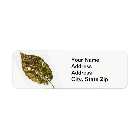 Nature Leaf Print, green and brown beech leaf' 2 Return Address Label