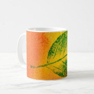 Nature Leaf Print green on orange, yellow apple. Coffee Mug
