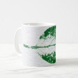Nature Leaf Print green on white spring apple. Coffee Mug