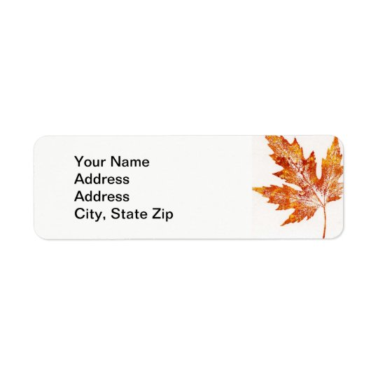 Nature Leaf Print, large orange maple leaf. Return Address Label