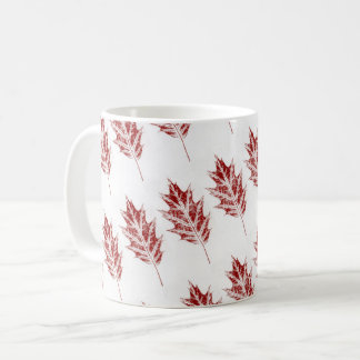 Nature Leaf Print pin oak in red on white tiled. Coffee Mug