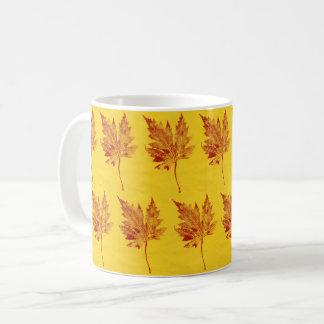 Nature Leaf Print red maple leaf on yellow paper. Coffee Mug