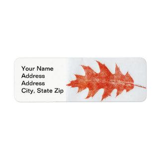 Nature Leaf Print, red oak autumn leaf in red. Return Address Label