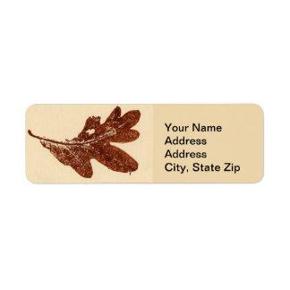 Nature Leaf Print, sienna oak leaf autumn Return Address Label