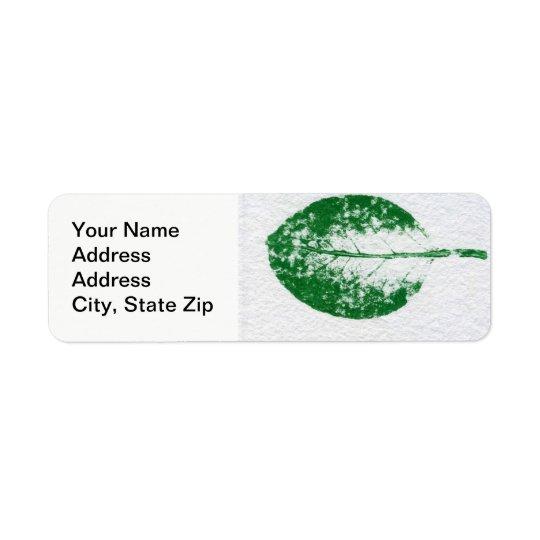 Nature Leaf Print, spring apple leaf in green. Return Address Label