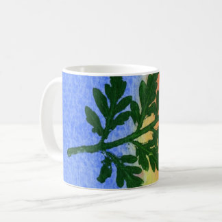 Nature Leaf Print wild firn  in green blue orange Coffee Mug