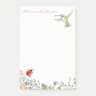 Nature Lover | Hummingbird Ladybug Garden Monogram Post-it Notes