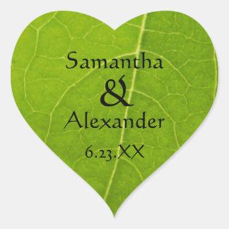 Nature Lovers Green Leaf Wedding Heart Sticker