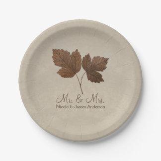 Nature Minimalist Fall Leaves Elegant Custom Party Paper Plate