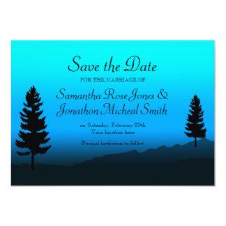 Nature Mountain Wedding Dusk Blue Save the Date 13 Cm X 18 Cm Invitation Card