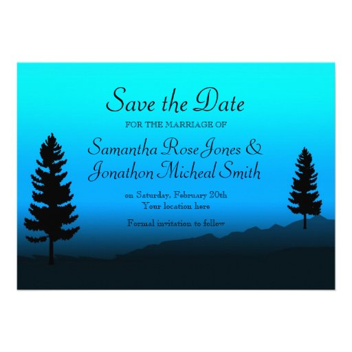 Nature Mountain Wedding Dusk Blue Save the Date Custom Announcement