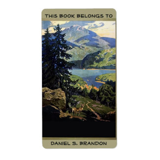 Nature mountains lake book plate ex-libris